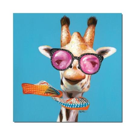 Tableau Girafe a Lunettes Rigolote