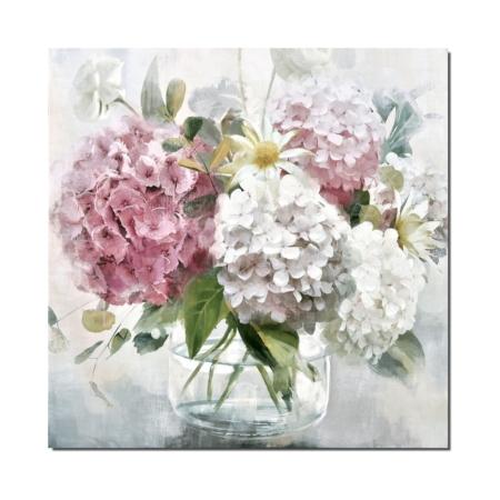 Toile Hortensias Roses Blancs