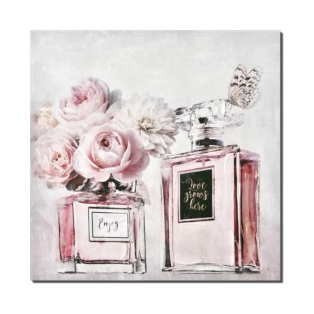 Toile decorative chambre rose bouteille de parfum