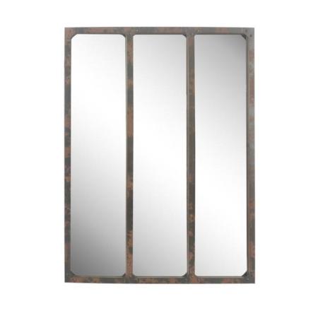 Miroir atelier Métal Rouillé 3 bandes
