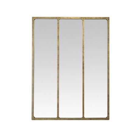 Miroir Industriel Métal Or Vieilli