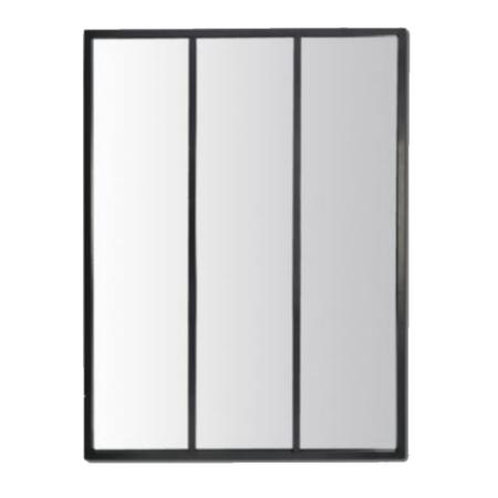Miroir Style Verrière Métal Noir