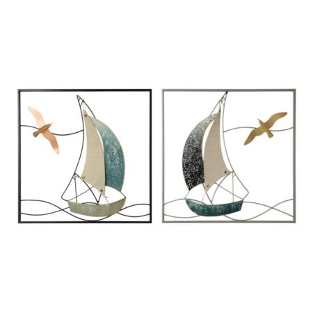 Deux Décorations voiliers cadre Métal