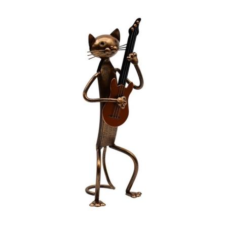 Statuette Chat Guitariste Métal Cuivre