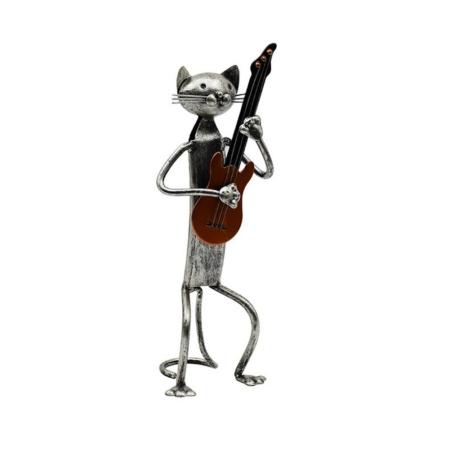 Statuette Chat Métal Guitare Gris