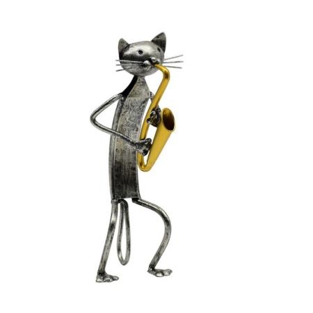 Statuette Chat Saxophoniste Gris